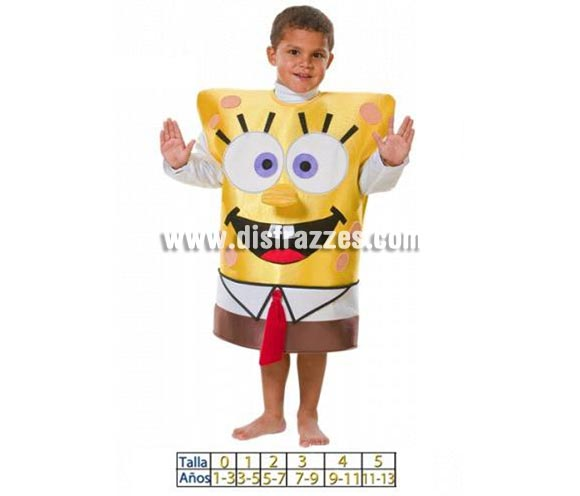 Disfraz Dibujo amarillo para niños. Disponible en varias tallas. Incluye disfraz de goma espuma con mangas de tela.