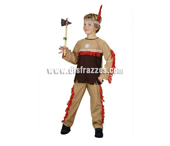 Disfraz de Indio para niños de 7 a 9 años. Incluye pantalón, camisa y tocado. Hacha NO incluida, podrás verla en la sección de Complementos - Armas.
