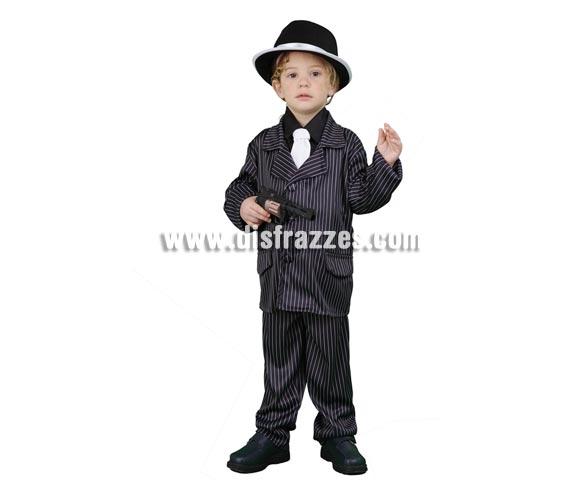 Disfraz de Ganster para niños de 3 a 4 años. Incluye chaqueta, camisa, corbata y pantalones. Sombrero NO incluido, podrás ver sombreros de Ganster en la sección de Complementos - Sombreros, gorros y diademas.