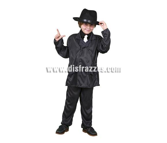 Disfraz de Ganster para niños de 7 a 9 años. Incluye chaqueta, camisa, corbata y pantalones. Sombrero NO incluido, podrás ver sombreros de Ganster en la sección de Complementos - Sombreros, gorros y diademas.