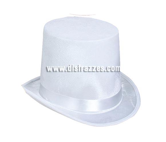 Chistera o Sombrero de Copa de Terciopelo blanco.