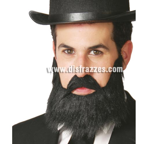 Barba y bigote negros.