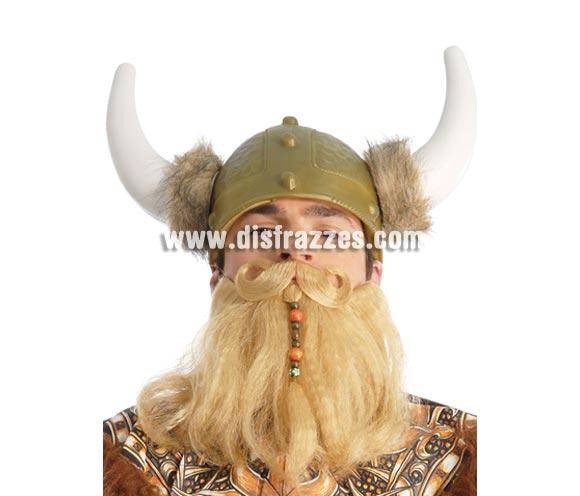 Conjunto barba y bigote rubios con adornos. Podría valer perfectamente para el disfraz de Astérix el Galo.