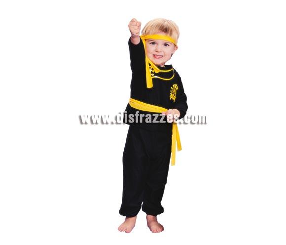 Disfraz barato de Ninja para niños de 1 a 2 años. Incluye traje completo, cinturón y cinta para la cabeza.
