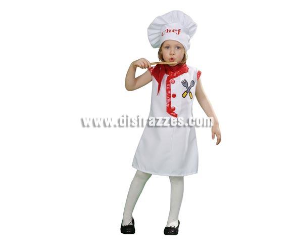 Disfraz super barato de Cocinera para niñas de 3 a 4 años. Incluye gorro, vestido y pañuelo.