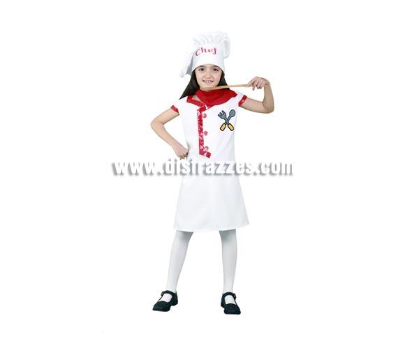 Disfraz super barato de Cocinera para niñas de 5 a 6 años. Incluye gorro, vestido y pañuelo.