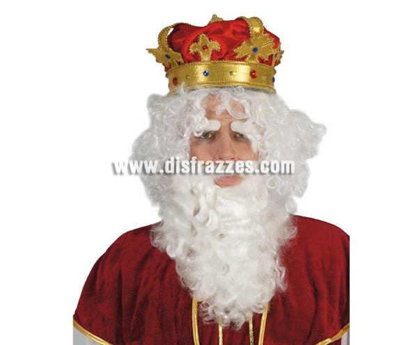 Barba grande blanca de Rey Mago Melchor o Papa Noel. También sirve como Barba de Papa Pitufo y de Brujo para Halloween. El precio sólo incluye la barba.