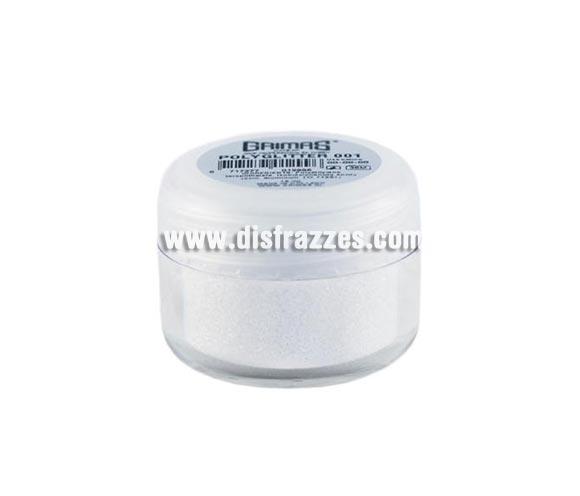 Purpurina suelta (Polyglitter), de 15 ml, de color blanco. Es un brillo sencillo que se puede aplicar directamente en la piel o por encima del maquillaje, usando los dedos, una esponja para maquillaje o una brocha ligeramente húmeda. Para una mejor fijación del producto, aplique una capa delgada de Stoppelpasta o Water-soluble Mastix.