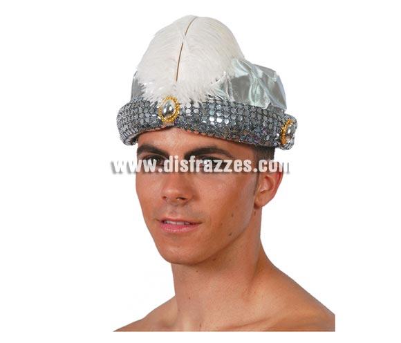 Sombrero de Marajá o Árabe plateado. También se usa como Turbante de paje Real de los Reyes Magos en Navidad.