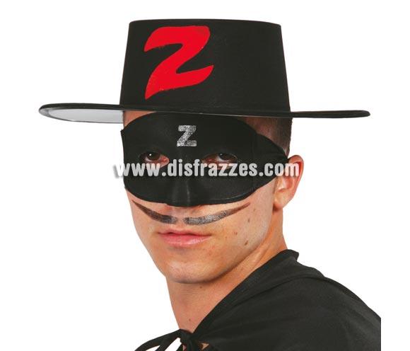 Sombrero de plástico flocado bandido adulto. Perfecto como complemento si te vas a disfrazar de El Zorro.