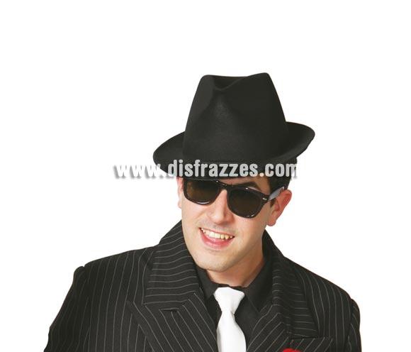 Sombrero Alcapone flocado negro. Sombrero de Ganster.