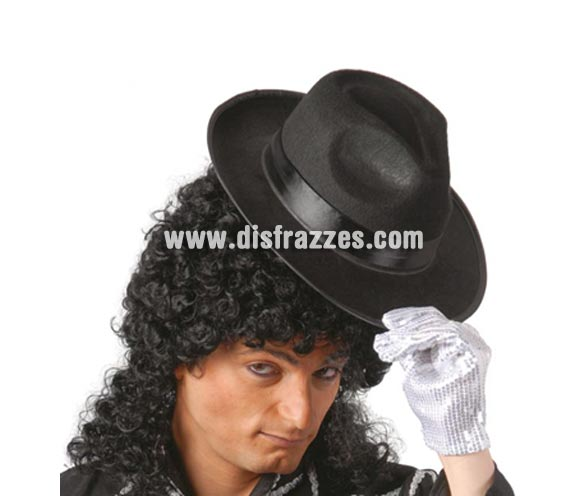 Sombrero Rey del Pop negro con cinta negra. Sombrero de Ganster negro con cinta negra. Perfecto como complemento si te vas a disfrazar de Michael Jackson o de Gánster.