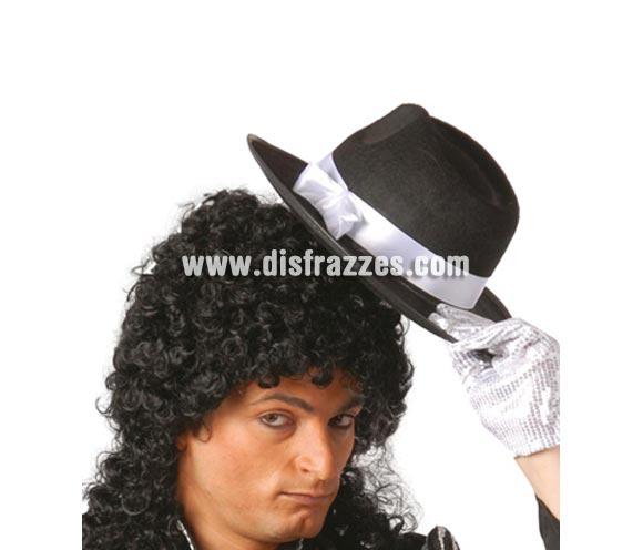 Sombrero Rey del Pop negro con cinta blanca. Sombrero de Ganster negro con cinta blanca. Perfecto si te vas a disfrazar de Michael Jackson o de Ganster.