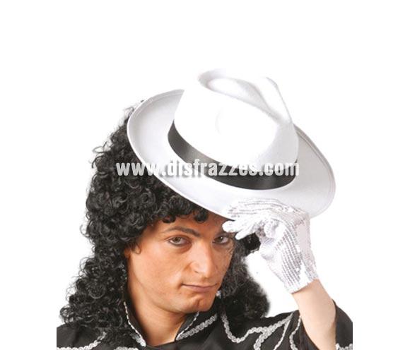 Sombrero Rey del Pop blanco con cinta negra. Sombrero de Ganster blanco con cinta negra. Perfecto como complemento si te piensas disfrazar de Michael Jackson o de Gángster.