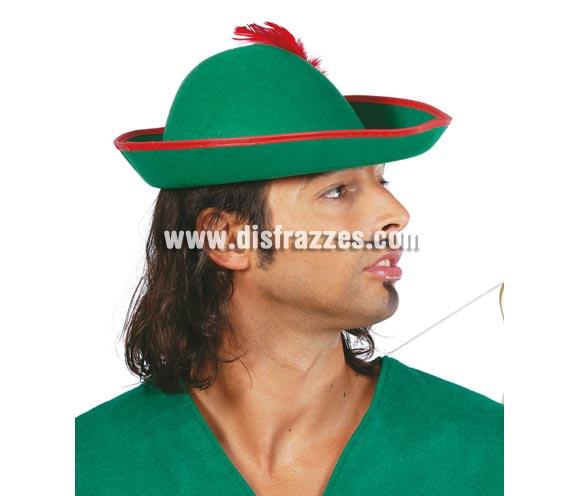 Sombrero de Tirolés o de Robin Hood de fieltro con pluma.