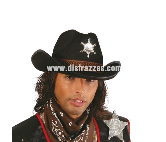 Sombrero de Sheriff de fieltro negro. Perfecto para disfraces del Oeste, Vaqueros y Pistoleros.