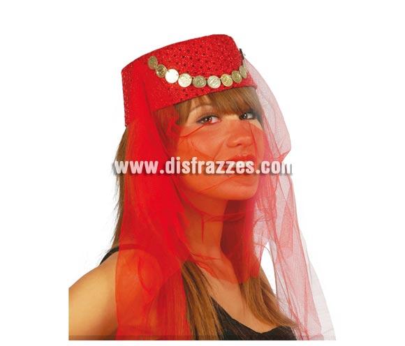Sombrero de Zíngara o de Bailarina Árabe de fieltro con monedas.