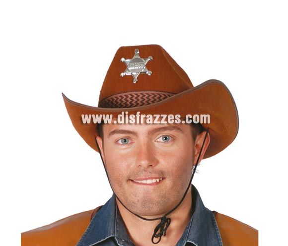 Sombrero Sheriff de fieltro marrón.