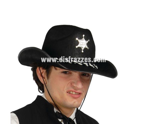 Sombrero fieltro Sheriff negro. Para ser el Vaquero o Pistolero más respetado del lejano Oeste ya que es quien impone la Ley.