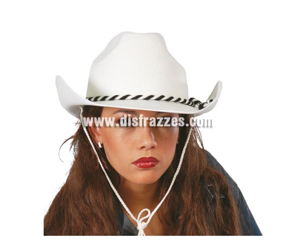 Sombrero Vaquero Dallas de terciopelo blanco. Perfecto para disfrazarse de Lucky Luke, el Pistolero.