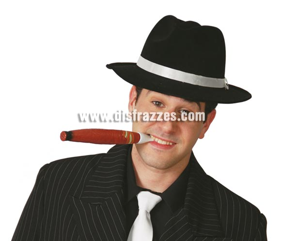 Sombrero Ganster de terciopelo negro.