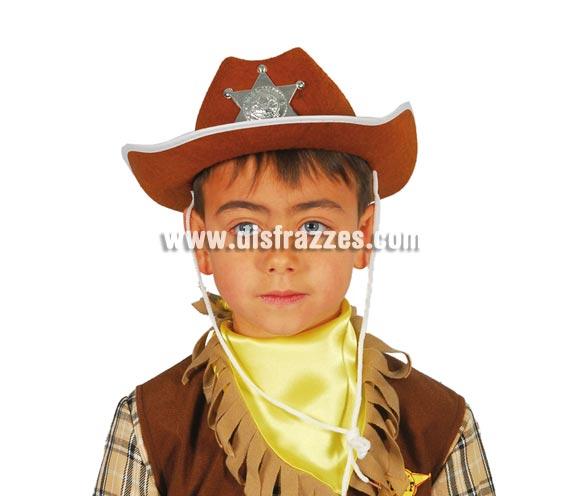 Sombrero Vaquero o Pistolero de fieltro Sheriff infantil marrón.