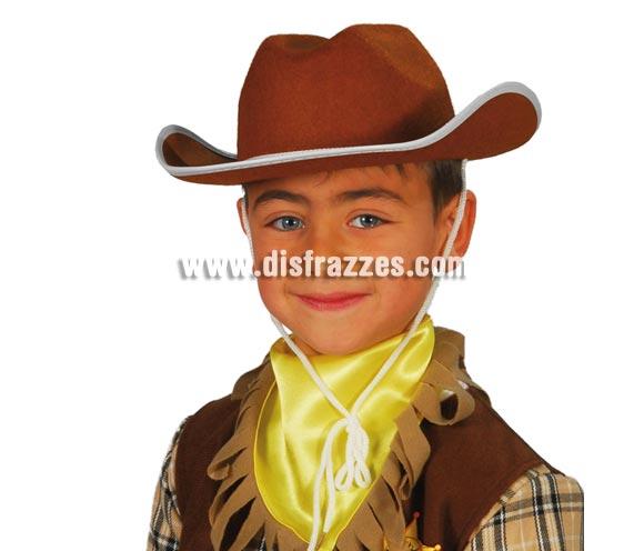 Sombrero de fieltro Vaquero infantil marrón.