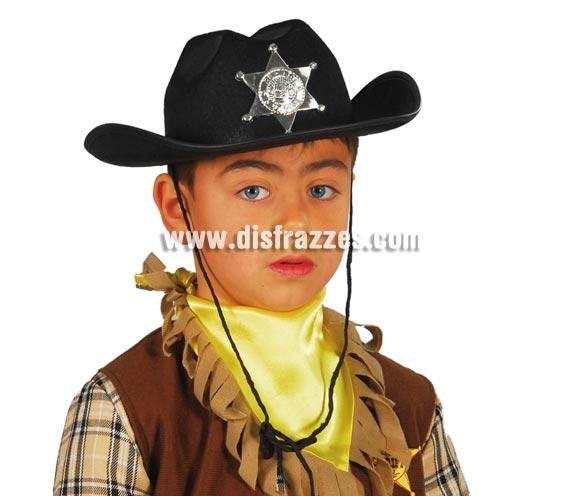 Sombrero de fieltro Sheriff infantil negro.