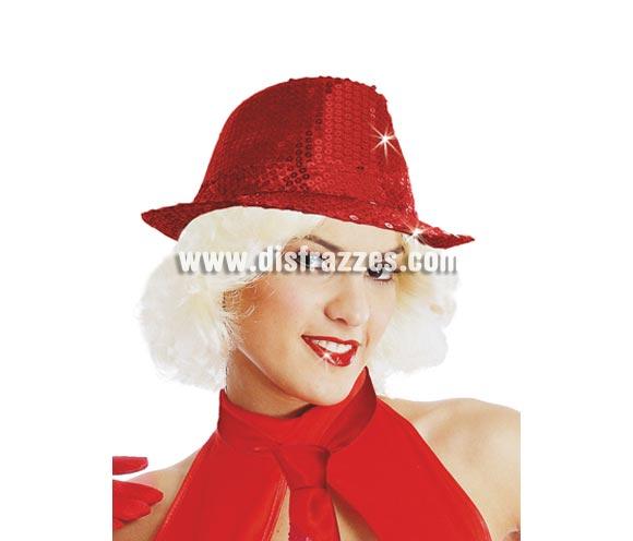 Sombrero Ganster FASHION lentejuelas rojo. Perfecto para Despedidas de Soltera y para bailes de Academias, Gimnasios o Colegios.
