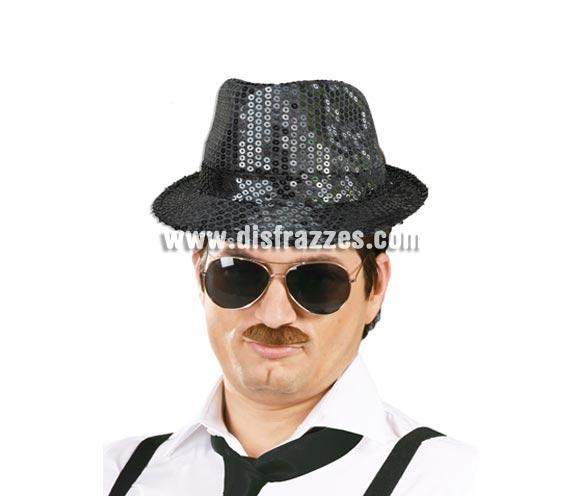 Sombrero Ganster FASHION lentejuelas negro