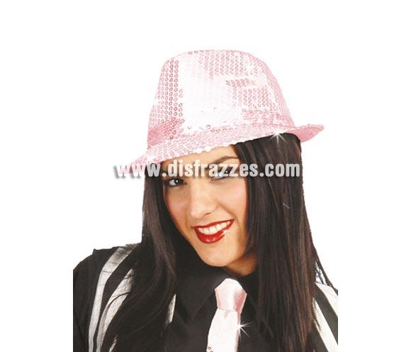Sombrero Ganster FASHION lentejuelas rosa. Perfecto para Despedidas de Soltera y para bailes de Academias, Gimnasios o Colegios.