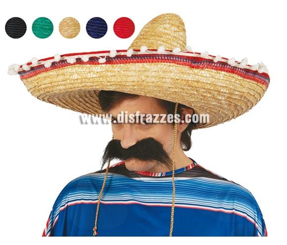 Sombrero Mejicano paja 55 cms. Disponible en 5 colores variados. Precio por unidad, se venden por separado.