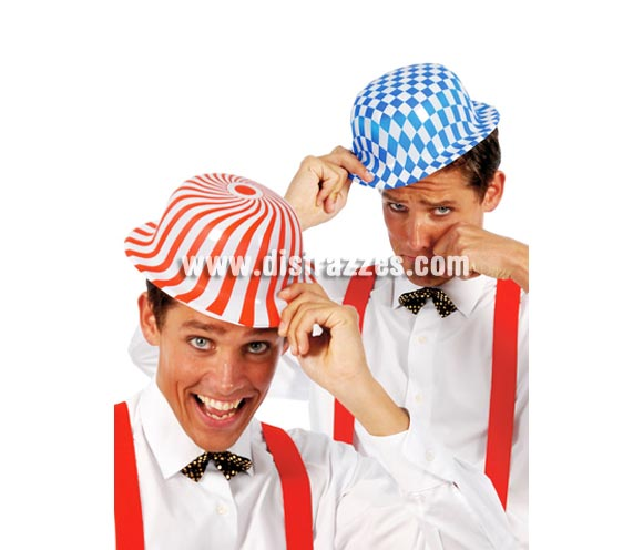 Sombrero bombín de plástico decorado. Colores y estampados surtidos, precio por unidad, se venden por separado. Hay más estampados o colores además de los que salen en la foto.