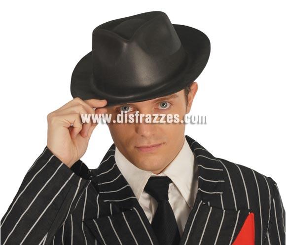 Sombrero de Ganster de latex negro.