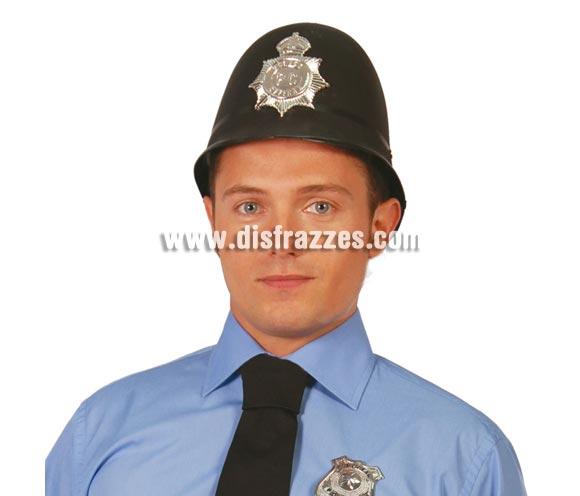 Gorro de Policía Inglés de plástico flocado negro.