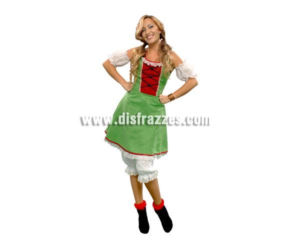 Disfraz de Tirolesa pololos para mujer. Talla standar M-L = 38/42. Incluye vestido, pololos y manguitos.