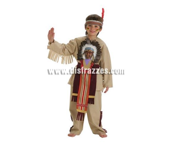 Disfraz de Indio Sioux para niños de 7 a 9 años. Contiene: Pantalón, faldilla, accesorio indio, pluma y chaqueta.