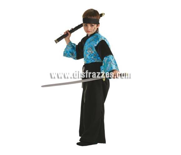 Disfraz de Samurai Ikito para niños de 7 a 9 años. Contiene: Kimono, pantalones, cinta pelo y espada samurai.
