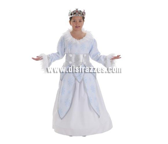 Disfraz Reina de las Nieves para niñas de 11 a 13 años. Contiene: Falda, sobrefalda, camisa y fajín (sin corona).