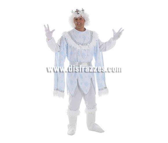 Disfraz de Príncipe de las Nieves para hombre. Talla Universal. Contenido: Pantalones, camisa, botas y cinturón (sin guantes, peluca ni corona). La pareja de éste disfraz es la ref. 4265LLO.