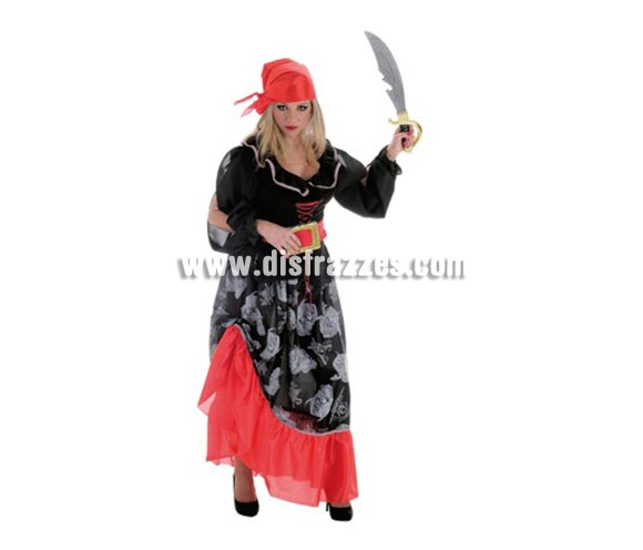 Disfraz de Bucanera Calavera para mujer. Talla Universal. Contiene: Falda, camisa, cinturón y pañuelo (sin espada).