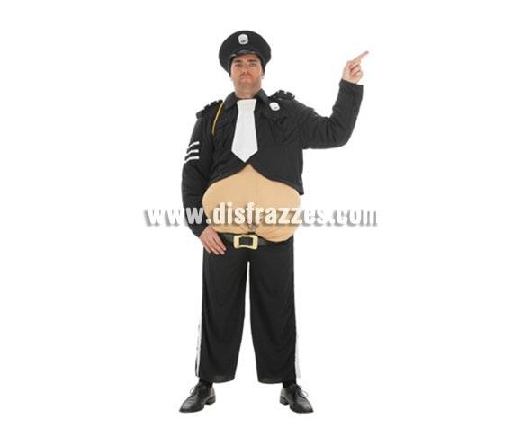 Disfraz de Policía Barrigón para hombre. Talla Universal. Contiene: Pantalón, cinturón, cahqueta, sombrero y barriga con relleno.