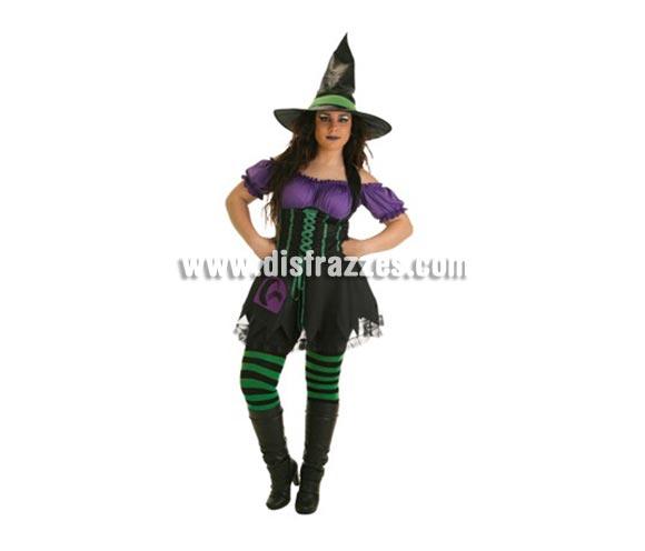 Disfraz de Bruja Luna para mujer. Talla Universal. Incluye vestido, sombrero y medias.