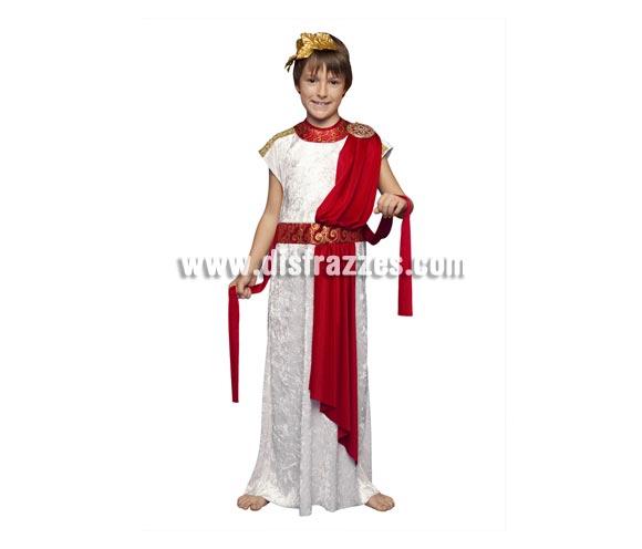 Disfraz de Emperador Romano para niños de 5 a 6 años. Incluye toga, cinturilla y tocado. Perfecto para hacer de Herodes en teatros de Navidad.