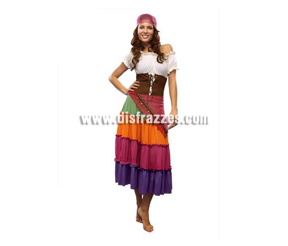 Disfraz de Zíngara para mujer. Talla standar  M-L = 38/42. Incluye vestido, cinturón y bandana.
