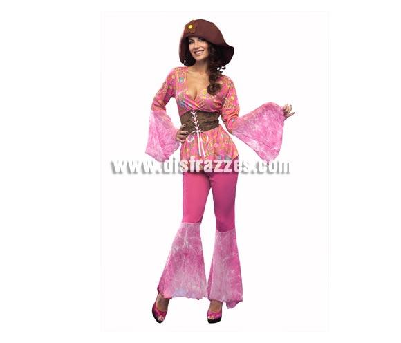 Disfraz de Chica Floral psicodélica. Talla standar M-L = 38/42. Incluye camisa, pantalón, cinturón y sombrero. Precioso disfraz de Hippie Floral para mujer.
