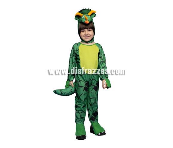 Disfraz de Dinosaurio Triceratops para niños de 5 a 6 años. Incluye mono con cola y gorro.