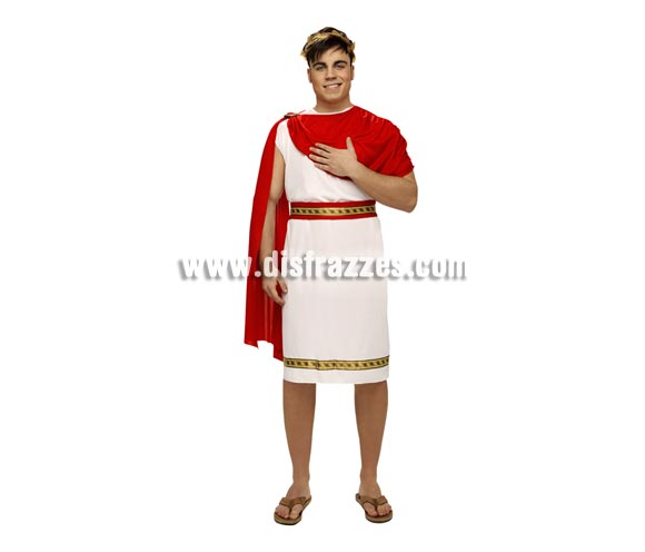 Disfraz de César Romano para hombre. Talla standar M-L = 52/54. Incluye túnica, capa, cinturón y tocado de la cabeza. Éste disfraz también se utiliza en Navidad para representaciones de Belén viviente.