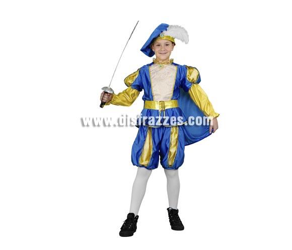 Disfraz de Príncipe Azul para niños de 7 a 9 años. Incluye camisa, pantalón, capa y gorro. Espada NO incluida, podrás verla en la sección de Complementos.