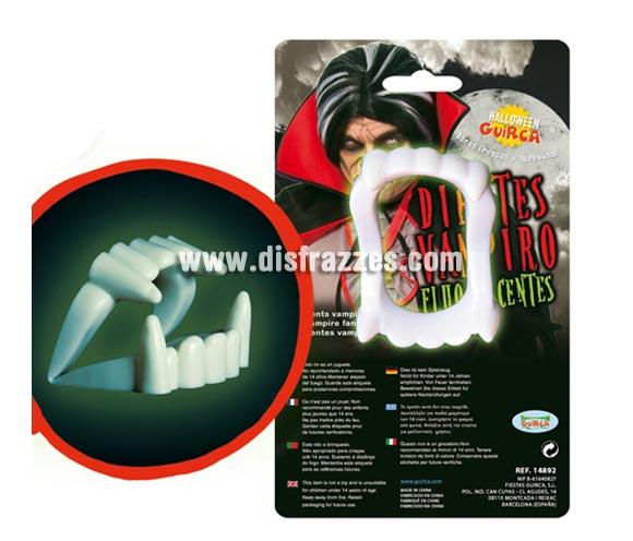 Dentadura o Dientes de Vampiro fluorescentes para Halloween.